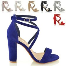 WOMENS STRAPPY BLOCK HIGH HEEL PEEPTOE LADIES CUT OUT CHUNKY EVENING SANDALS SHO