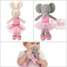 "Mud Pie Polka Dot Princess Knit Plush Ballerina Rattle 7 1/2""  Bunny or Elephant"