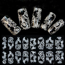 Nail Art Lace Stickers Decals Transfers WHITE Lace Full Wraps Design Nail Art