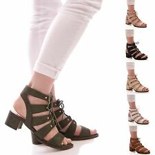 LADIES WOMENS LACE UP LOW BLOCK HEEL SUMMER SANDALS FASHION STYLE SHOES SIZE