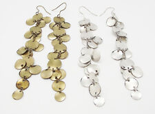 "ICON 4.75"" RISA SILVER BRONZE METAL DISC LINEAR DROP DANGLE HOOK EARRINGS NEW"