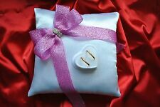 Wedding ring cushion with rings holder / shiny ribbon - 6 colors