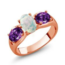 1.33 Ct Oval Cabochon White Opal Purple Amethyst 18K Rose Gold Ring
