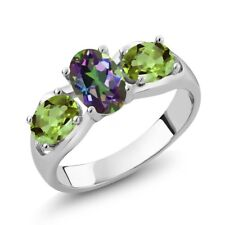 1.80 Ct Oval Green Mystic Topaz Green Peridot 925 Sterling Silver Ring