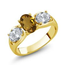 1.70 Ct Oval Whiskey Quartz White Topaz 18K Yellow Gold Plated Silver Ring