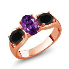 1.53 Ct Oval Purple Amethyst Black Onyx 18K Rose Gold Plated Silver Ring