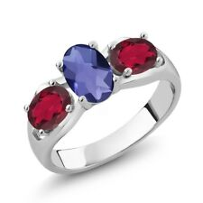 1.65 Ct Oval Checkerboard Blue Iolite Red Mystic Topaz 925 Silver Ring
