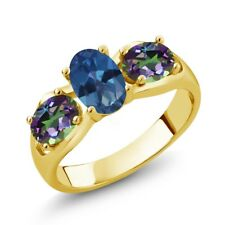 1.80 Ct Oval Royal Blue Mystic Topaz Green Mystic Topaz 18K Yellow Gold Ring