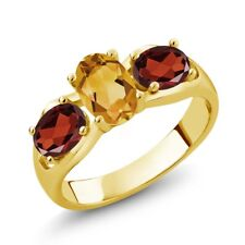 1.60 Ct Oval Yellow Citrine Red Garnet 18K Yellow Gold Plated Silver Ring