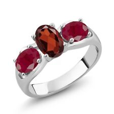 2.10 Ct Oval Red Garnet Red Ruby 925 Sterling Silver Ring