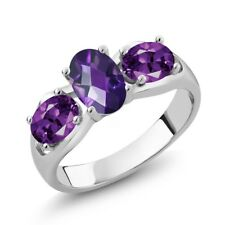 1.45 Ct Oval Checkerboard Purple Amethyst 925 Sterling Silver Ring
