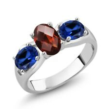 1.80 Ct Oval Checkerboard Red Garnet Blue Simulated Sapphire 14K White Gold Ring