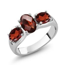1.80 Ct Oval Checkerboard Red Garnet 925 Sterling Silver Ring