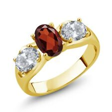 1.90 Ct Oval Red Garnet White Topaz 18K Yellow Gold Plated Silver Ring