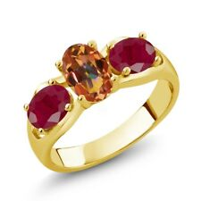 2.00 Ct Oval Ecstasy Mystic Topaz Red Ruby 18K Yellow Gold Plated Silver Ring