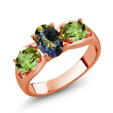 1.80 Ct Oval Blue Mystic Topaz Green Peridot 18K Rose Gold Plated Silver Ring