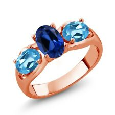 1.90 Ct Oval Blue Simulated Sapphire Swiss Blue Topaz 18K Rose Gold Ring