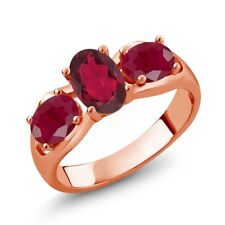 2.00 Ct Oval Red Mystic Topaz Red Ruby 18K Rose Gold Plated Silver Ring