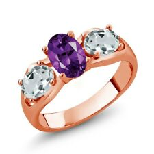 1.61 Ct Purple Amethyst Sky Blue Aquamarine 18K Rose Gold Plated Silver Ring
