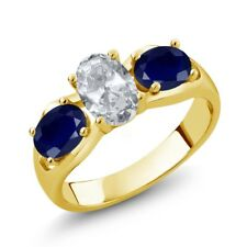 2.05 Ct Oval White Topaz Blue Sapphire 18K Yellow Gold Plated Silver Ring