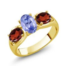 1.75 Ct Oval Blue Tanzanite Red Garnet 18K Yellow Gold Plated Silver Ring