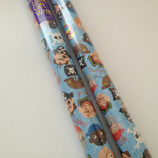 2 x Kids Pirate  Gift Wrap Wrapping Paper Each Roll 3m x 70cm