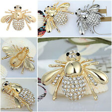 Elegant Fashion Gold Silver Plated Rhinestone Crystal Bug Bee Insect Brooch Pin