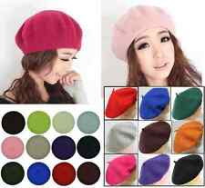 French Style Vintage Unisex Men Women Girls Wool Warm Plain Beret Beanie Hat