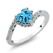 0.97 Ct Heart Shape Swiss Blue Topaz and Simulated Topaz 18K White Gold Ring
