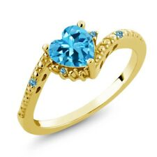 0.97 Ct Heart Shape Swiss Blue Topaz 18K Yellow Gold Ring