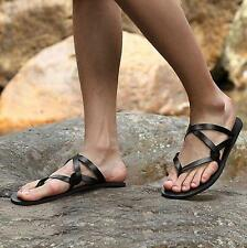 Men's Leather Strappy Flip Flops Casual Gladiator Flats Roman Sandals Shoes Size