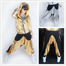 Kids Adult Gold patchwork sweatpants sports Trouser Costume Hip Hop dance pants