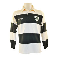 Polo Shirt With Irish Rugby Shamrock Crest, Cream And Green Stripes