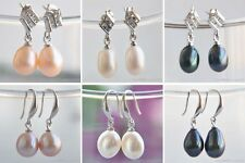 X0382 A++ lustre RICE FRESHWATER PEARL DANGLE EARRING