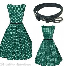 Women 50s Vintage Green Polka Dot Short Cocktail Party Rockabilly Swing Dress
