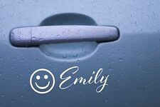 Smiley personalised custom name sticker decal for car wall door laptop phone