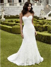 New White/Ivory mermaid Bridal Gown Wedding Dress Stock Size 6 8-10-12-14-16-18