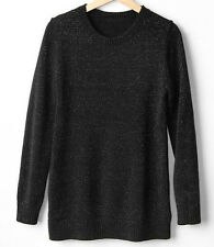 GAP MATERNITY SHIMMER CREW NECK SWEATER   (black w/silver)