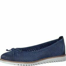 TAMARIS Cushioned Sole Ballerina Perforated Bow Detail NAVY Leather Shoe- 24621