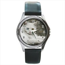 Turkish Angora Square Round & Square Leather Strap Watch - Cat Kitten