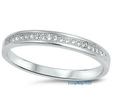 Sterling Silver 925 SEMI HALF ETERNITY WEDDING BAND CLEAR CZ 3MM RING SIZE 5-10
