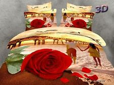3D Bedding Quilt Doona Duvet Cover Bed Sheet Pillowcase Set Queen -Romantic Rose