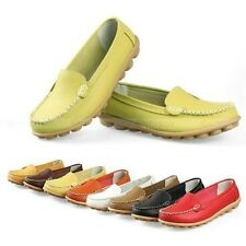 Hot Womens Ladies Leather Shoes Casual Slip-on Ballet Flats Loafers & Moccasins