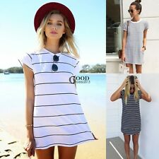 Summer Women Casual Crew Neck Short Sleeve Striped Loose T-Shirt Long Top blouse