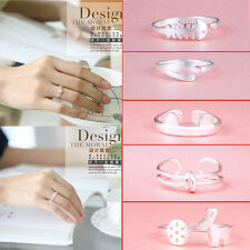 Lady Fashion Jewelry 925 Silver Plated Crystal Opening Adjustable Finger Ring