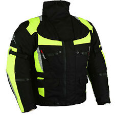 Textile motorcycle jacket black Safety reinforced waterproof Size S-5XL