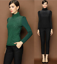 Sexy Womens Shirt Long Sleeve Top Slim Blouse Pleated Blouse Elegant Sumptuous
