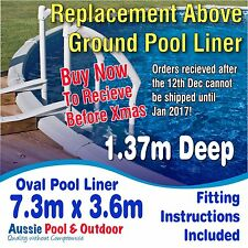 NEW Above Ground Swimming Pool Oval Liner 7.3m x 3.6m & 1.37m deep, 5yr warranty