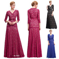 3/4 Sleeves Lace Mother Bride Wedding Bridesmaid Dress Long Formal Evening Gown
