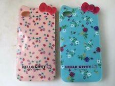 Apple iPhone 4 4s Hello Kitty Lovely Bow Bowknot Pastoral Floral Flower TPU Case